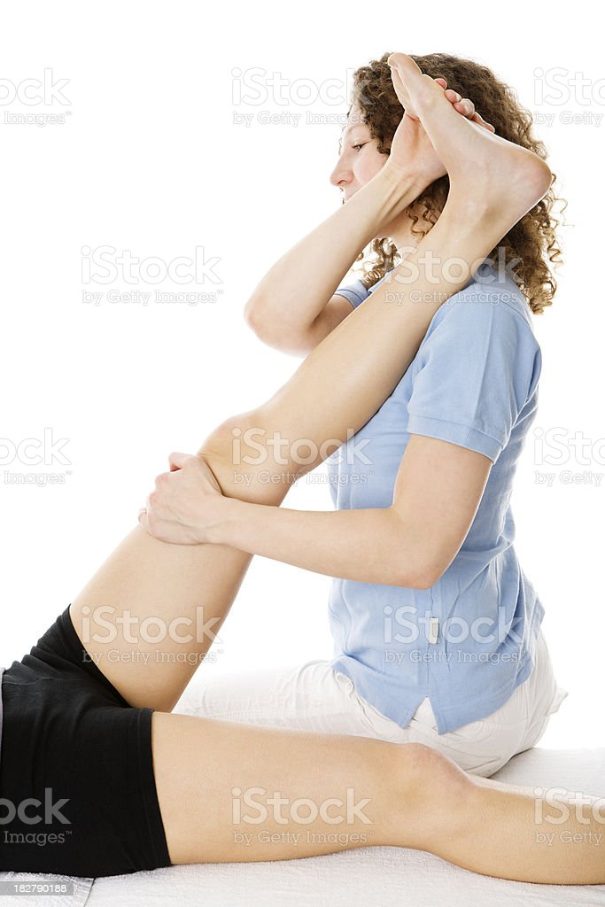 physical therapy stretching royalty-free stock photo