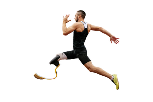 physically disabled athlete stock photo