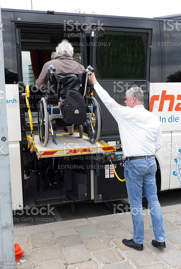 Physically disabled bus accessibility platform stock photo