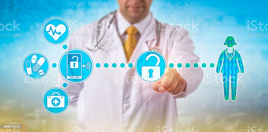 Unrecognizable male physician is accessing electronic medical records...