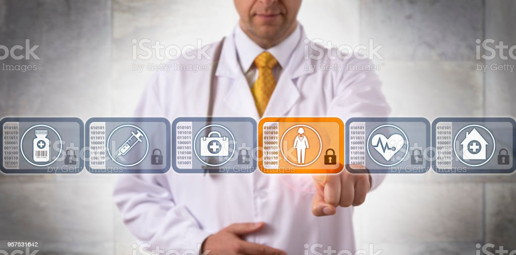 Physician Choosing Patient Record Block In Chain stock photo