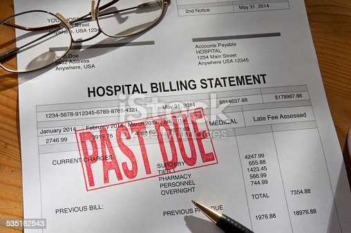 Hospital Billing statement.  Past Due stamped on the invoice.
