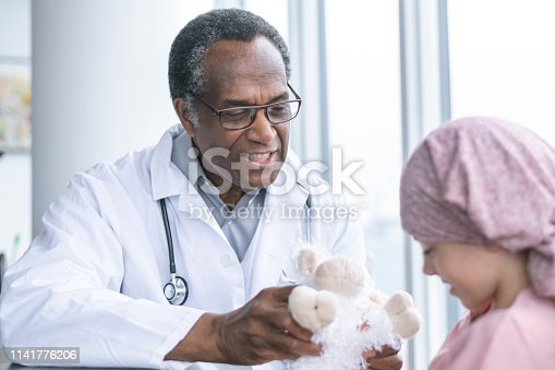823893962 istock photo Physician meets with young girl with cancer 1141776206