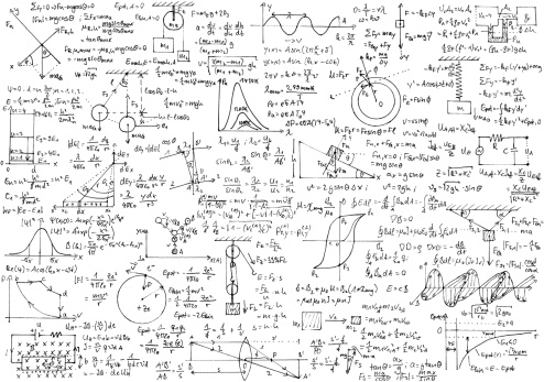 Background with hand written physics formulas diagrams and plans of basic physics experiment setups.
