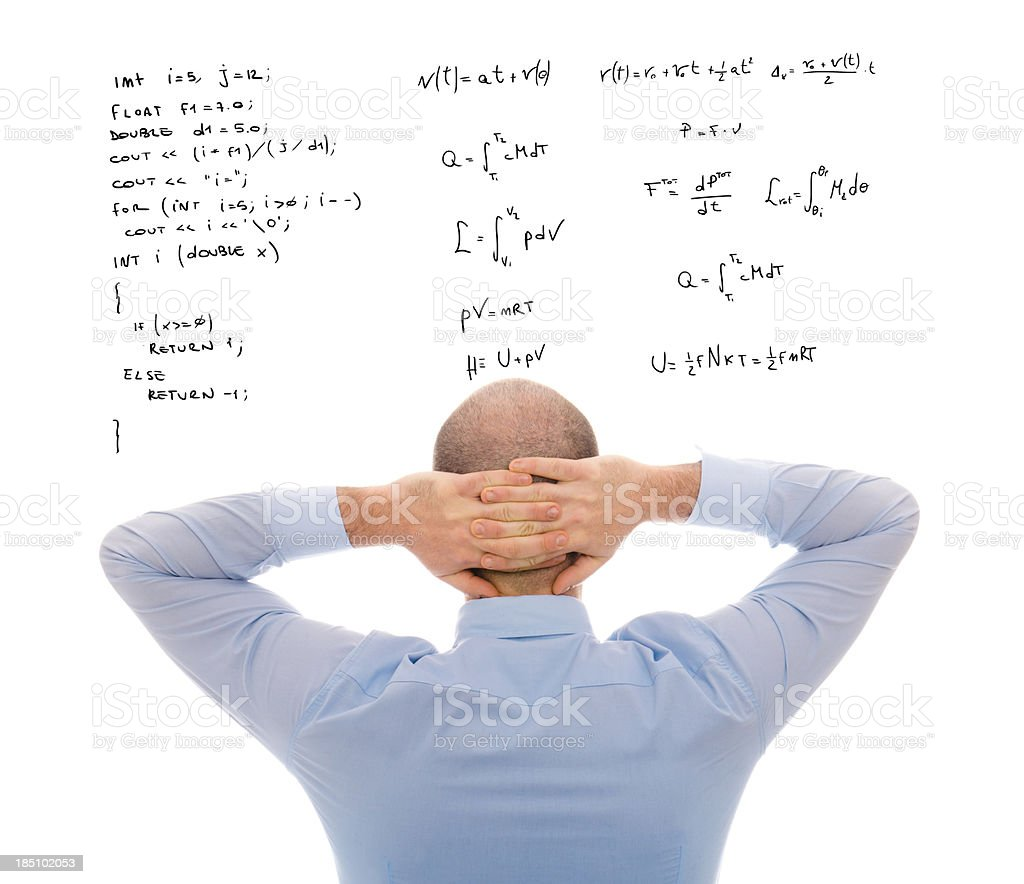 Physics Scientist computer programmer pensive at work royalty-free stock photo
