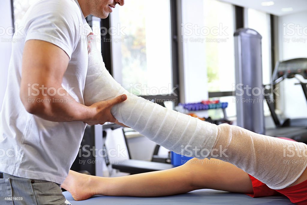 Physiotherapist applying lymphatic drainage stock photo