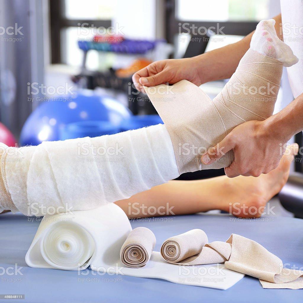 Physiotherapist applying lymphatic drainage stock photo