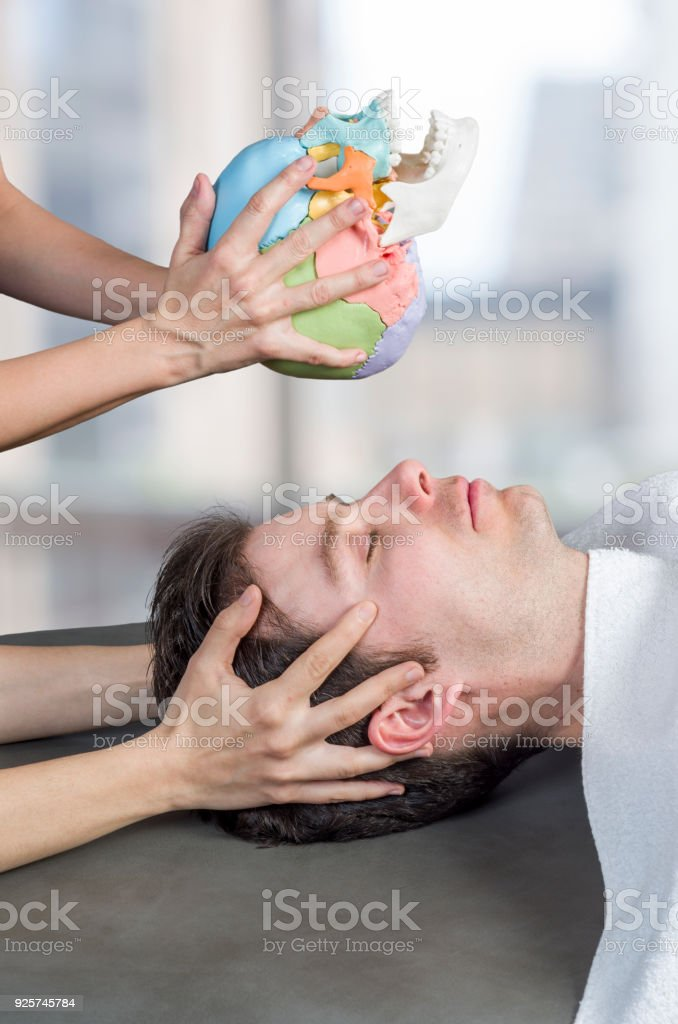 Physiotherapist doing a cranial sacral therapy to a man patient and another physiotherapist with a fake skull showing  position of the hands stock photo