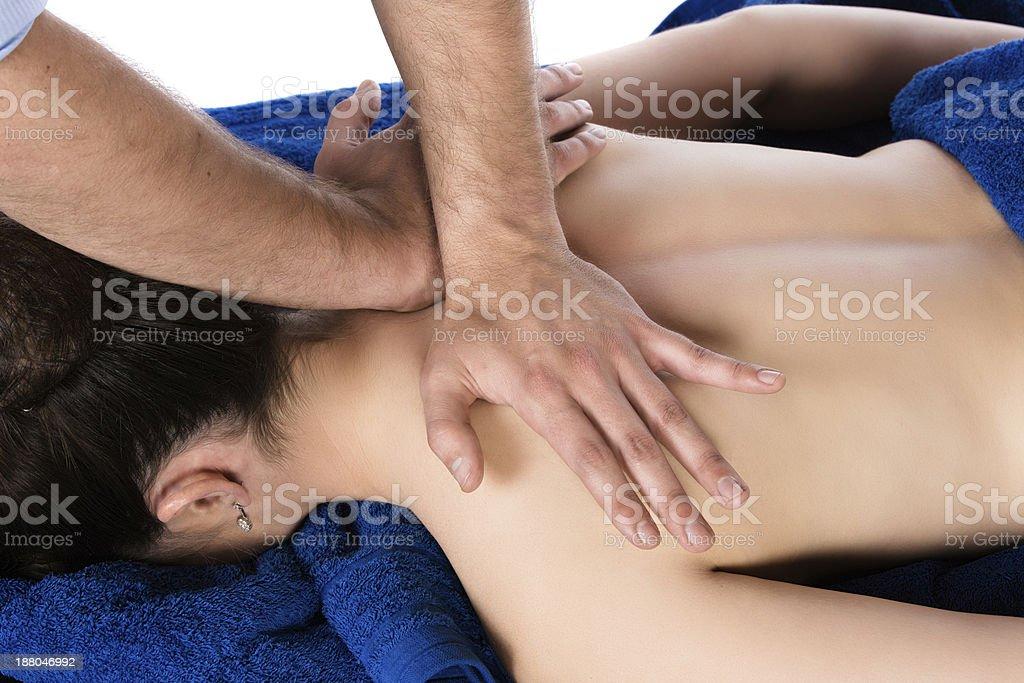 Physiotherapist massaging patient stock photo