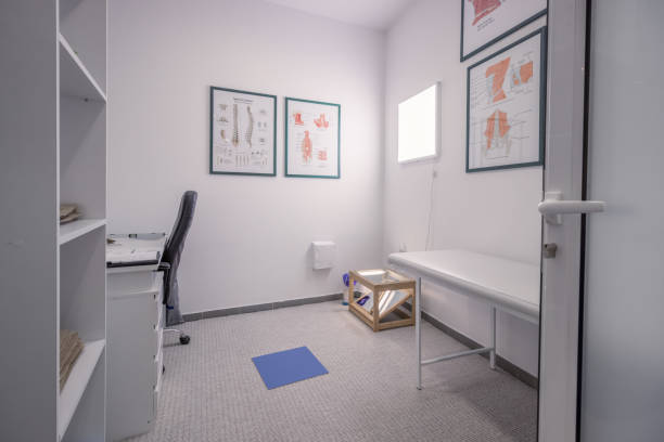 Physiotherapist office indoors room, no people stock photo