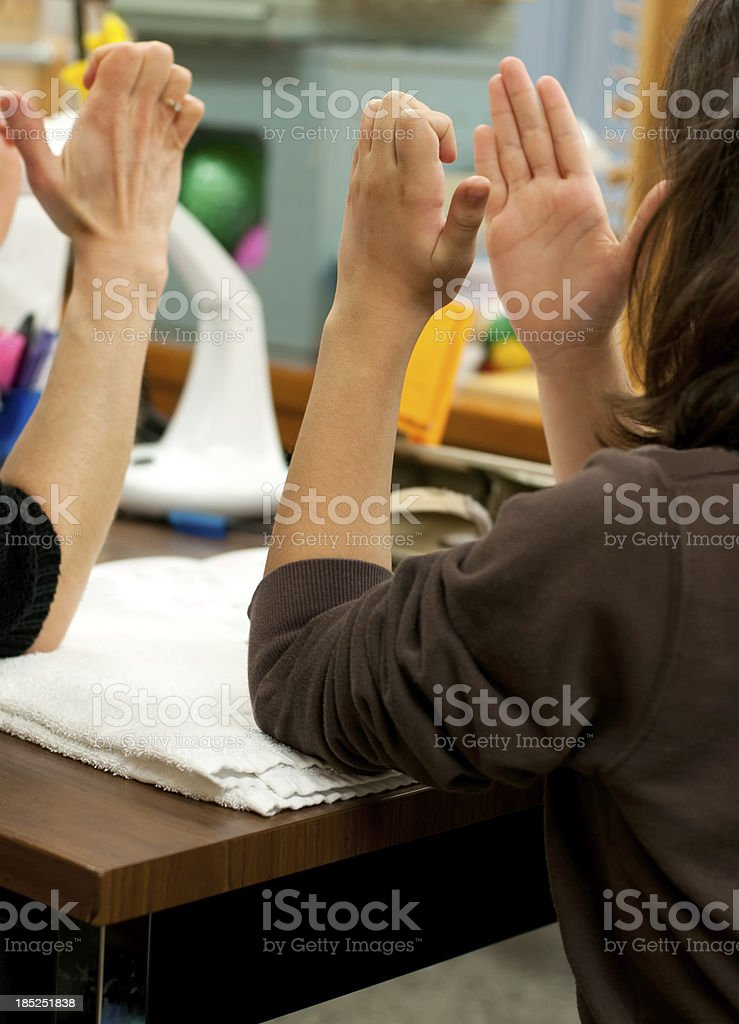 Physiotherapy Hand and Finger Exercises stock photo