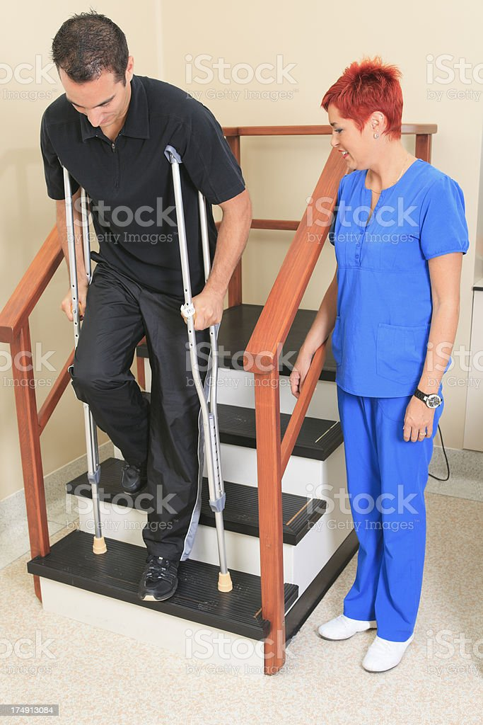 Physiotherapy - Practice Crutch stock photo