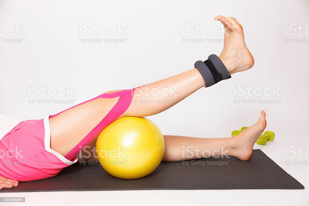 Physiotherapy treatment for knee injury stock photo
