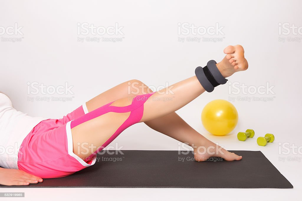 Physiotherapy with kinesio tape stock photo