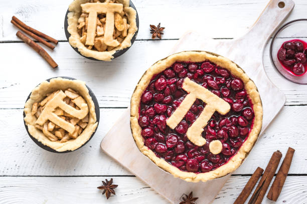 Pi Day Cherry and Apple Pies stock photo