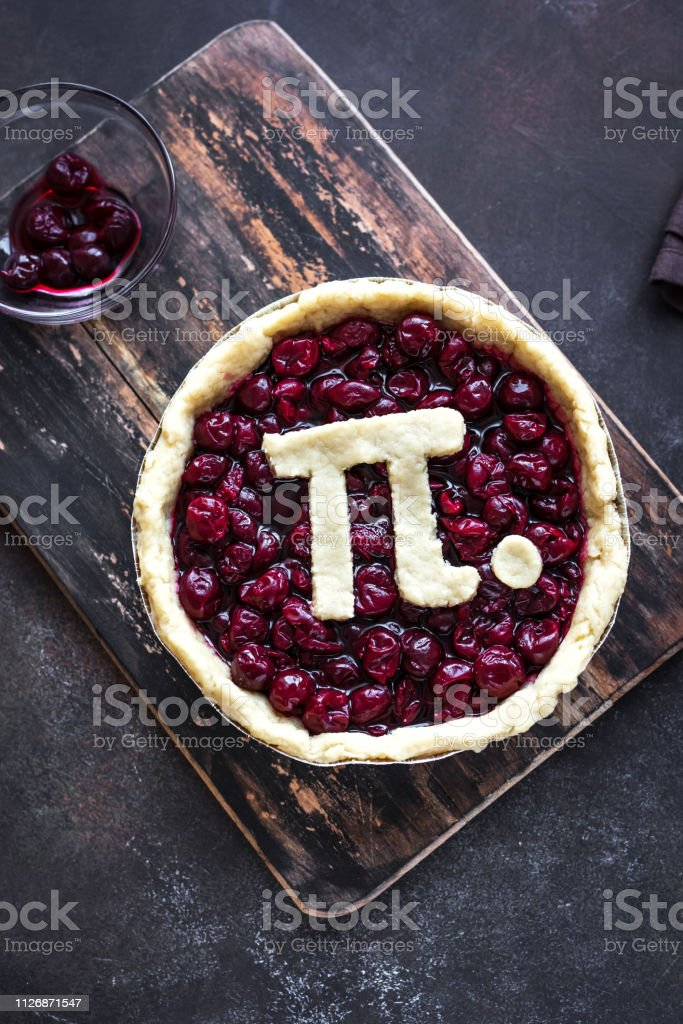 Pi Day Cherry Pie stock photo