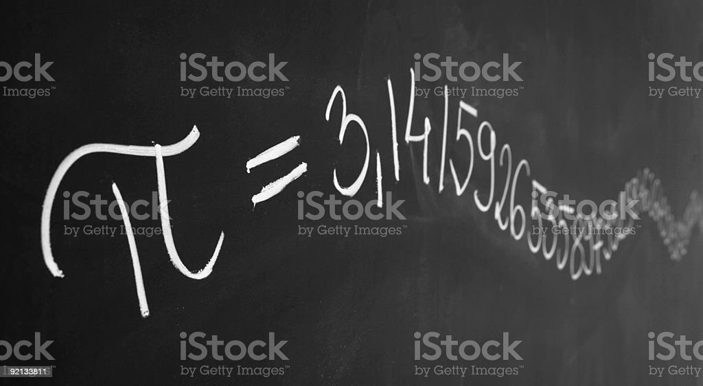 Pi on Blackboard stock photo