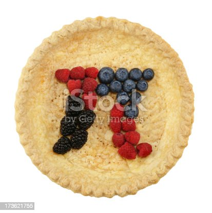 Extremely high resolution shot of a pie crust with blackberries, raspberries, and blueberries arranged into the shape of the mathematical symbol for pi.