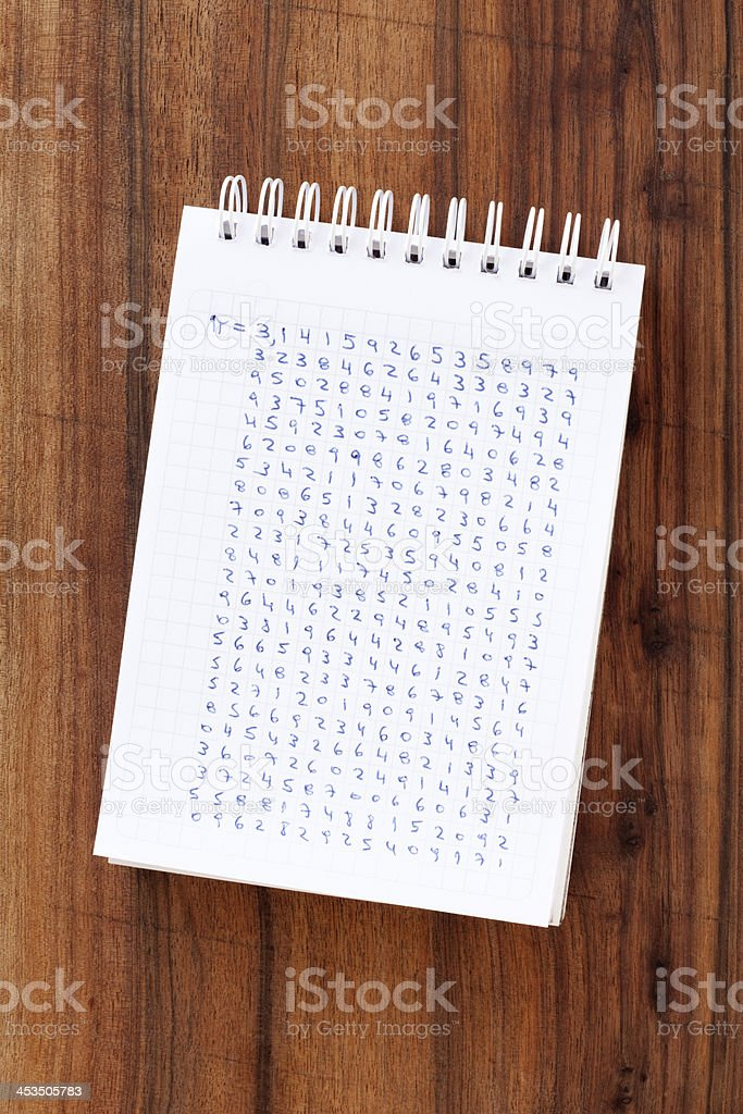 Pi sequence royalty-free stock photo