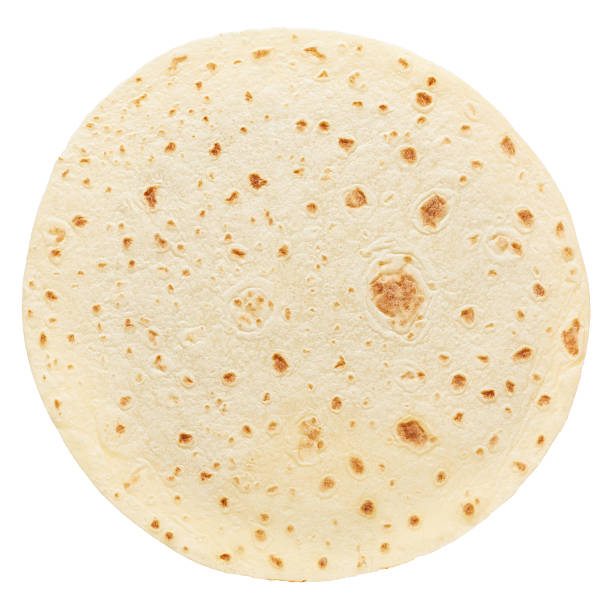 piadina, round italian tortilla - tortilla stock photos and pictures