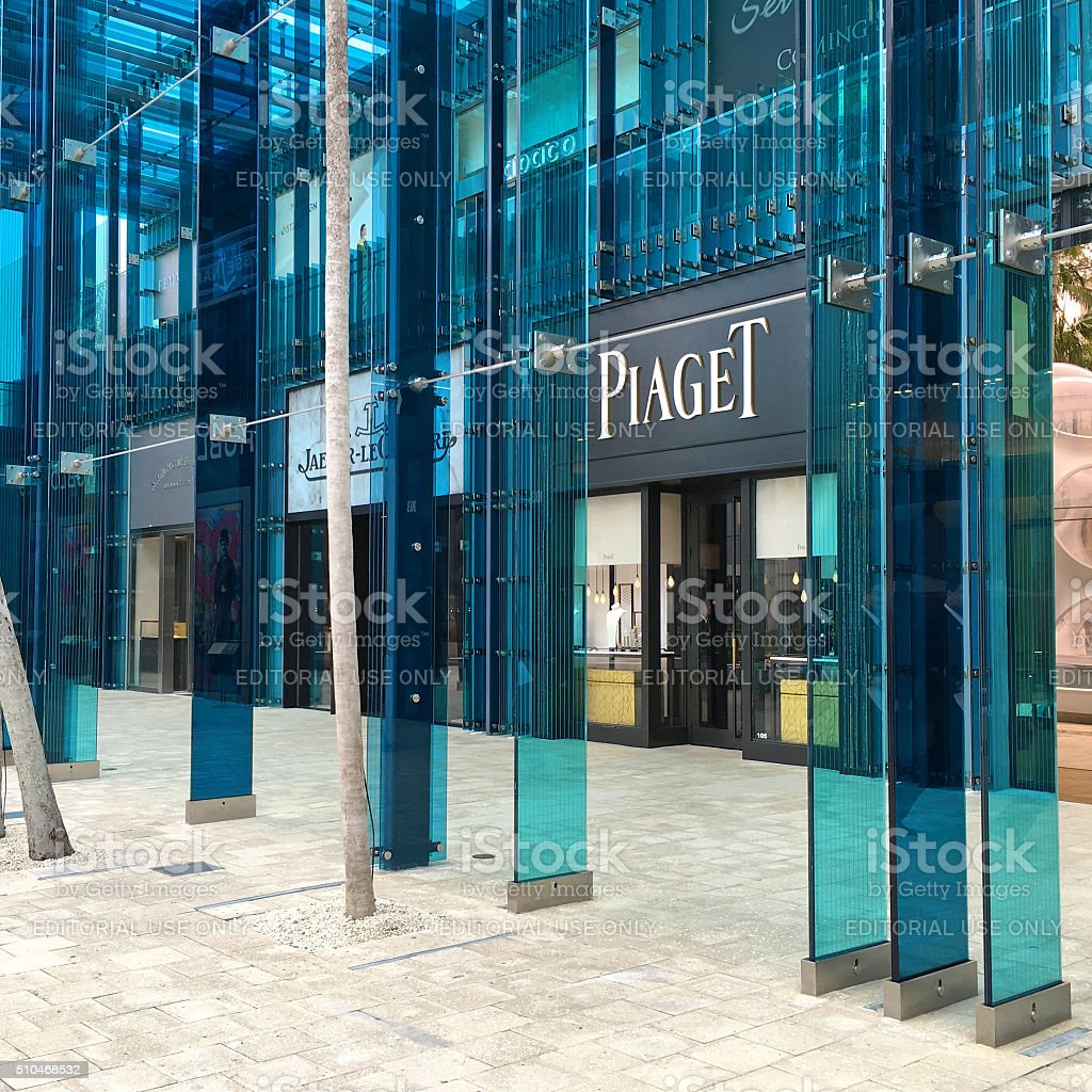Piaget store Miami, Florida, USA - January 29, 2016: Piaget store betweem other luxury stores in the new modern part of Design District, Miami, Florida, USA. Architecture Stock Photo