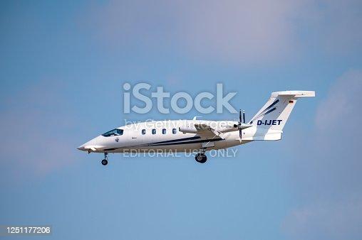 June 20, 2020: Frankfurt Main Airport - Piaggio P180 Avanti aircraft (registration D-IJET) on approach to land at Frankfurt Main Airport (EDDF)