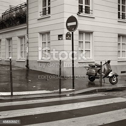Paris, France - November 22, 2012: An iconic Piaggio Vespa scooter is parked in the third