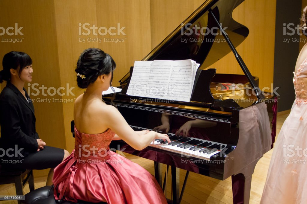 Pianist and Flutist on stage. royalty-free stock photo