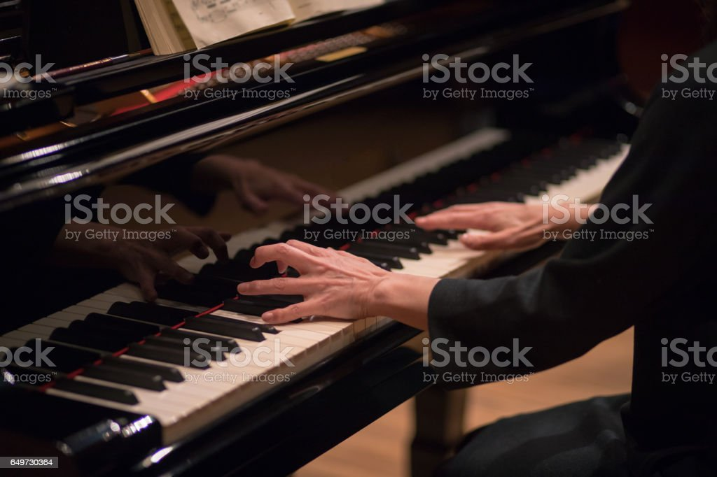 Pianist rehearsing before the concert stock photo