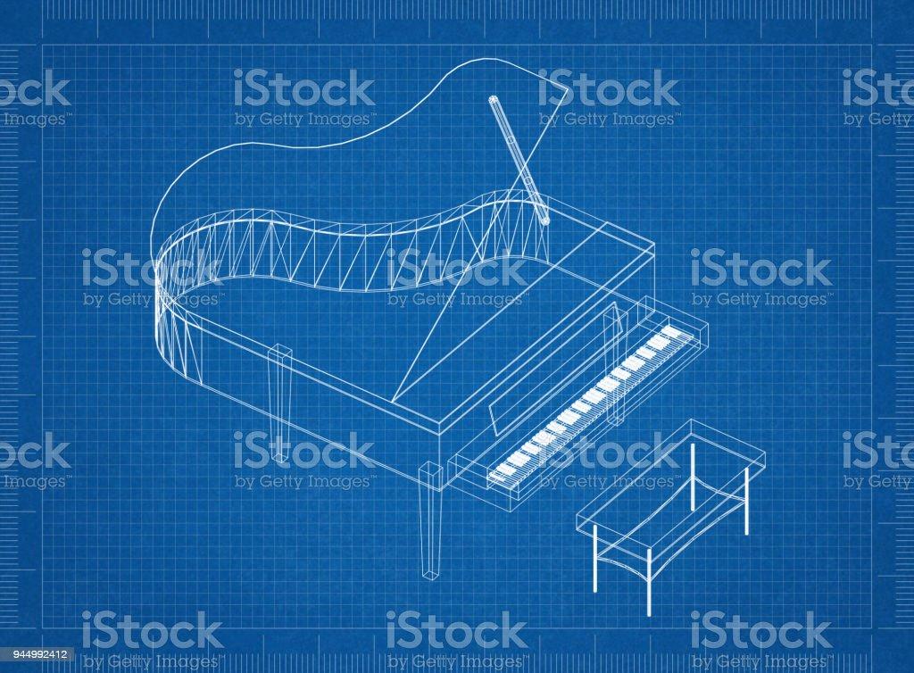 Fotografa de blueprint 3d piano y ms banco de imgenes de armona blueprint 3d piano foto de stock libre de derechos malvernweather Images