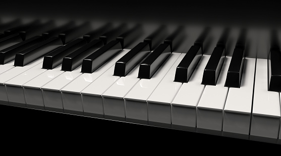 piano, background, 3d rendering, white, black
