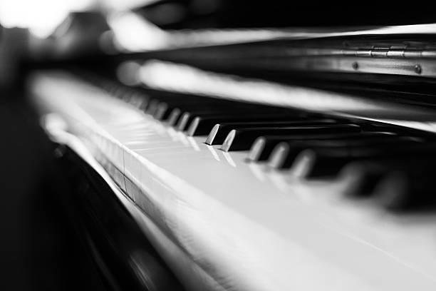 Piano and keys stock photo