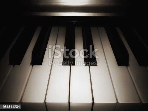 in selective focus of piano key,white key and black key