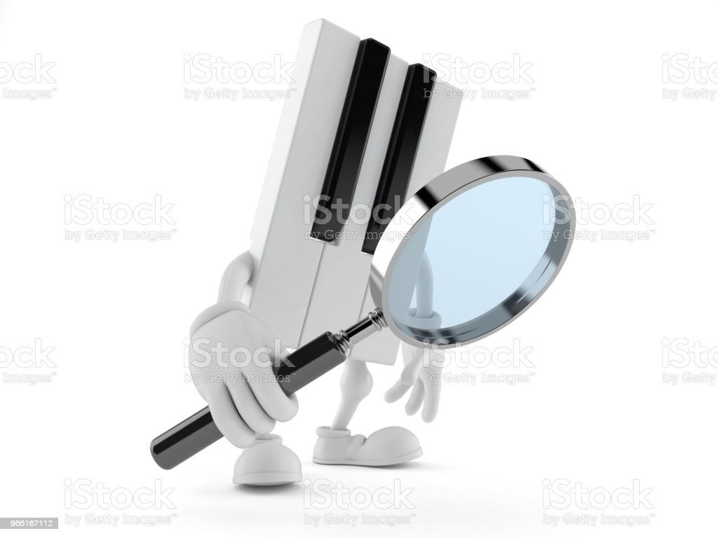 Piano character looking through magnifying glass - Foto stock royalty-free di Analizzare