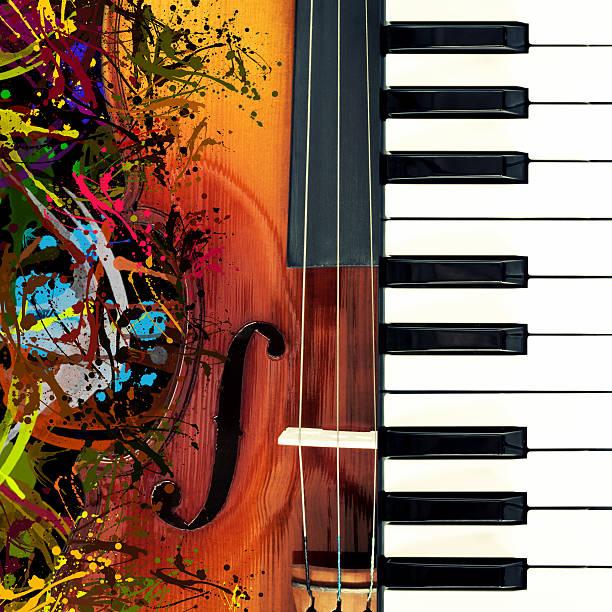 klassik violine klavier &, lustige bunte planschen art - tastatur bilder stock-fotos und bilder