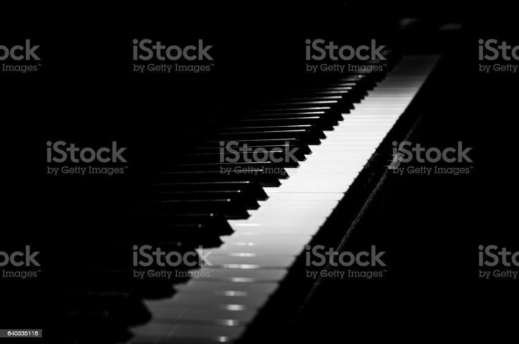 piano horizontal black and white diagonal stock photo
