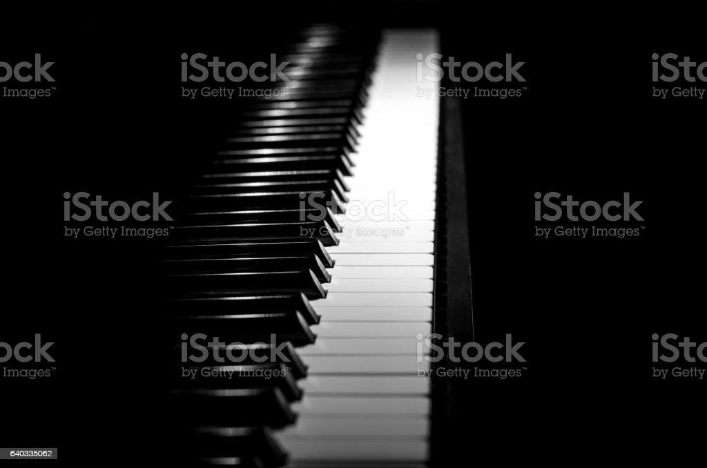 piano horizontal black and white stock photo