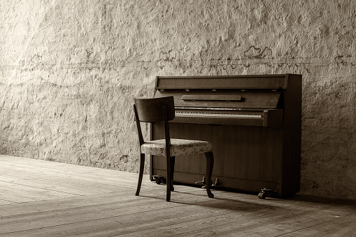 Piano in ancient room