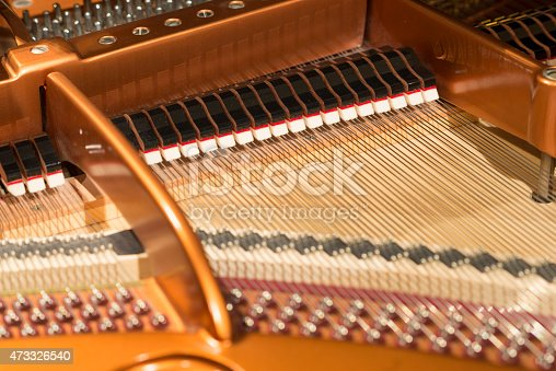 View of classic piano internal structure parts.
