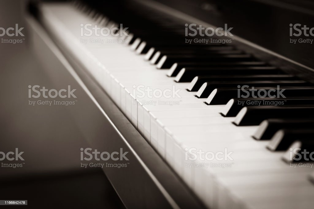 Piano key. Music instrument. Abstract blur background with dark...