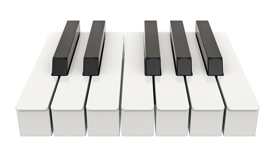 7 piano key, one octave. Music concept. 3D rendering isolated on white background