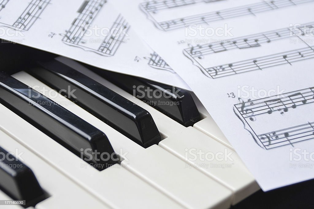 Piano keyboard and sheetmusic royalty-free stock photo