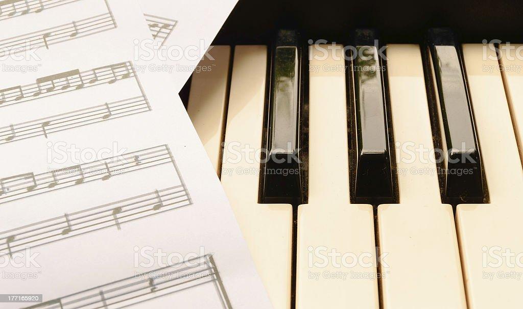 piano keyboard and sheetmusic royalty-free stock photo