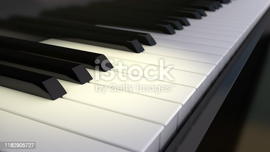 istock Piano keyboard background with selective focus. 3d rendering. 1182905727