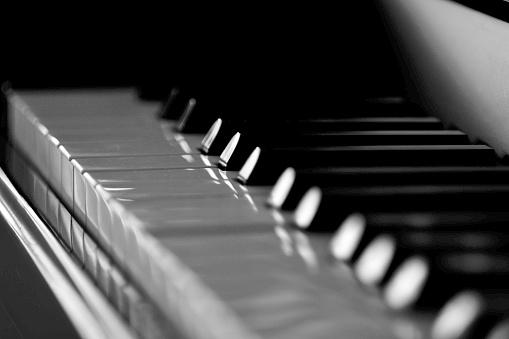 Piano keyboard black and white Macro