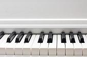 Piano keyboard closeup