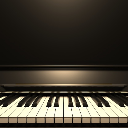 Piano keyboard. Soft light on piano keys, golden details, closeup front view. Classic music template, copy space. 3d illustration