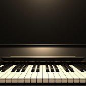 istock Piano keyboard, front view, copy space. 3d illustration 1282984742
