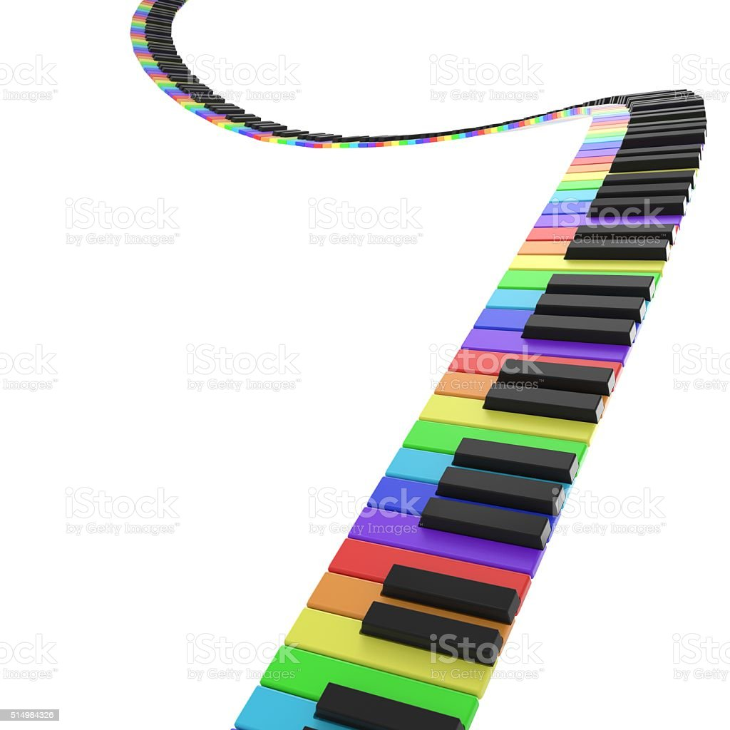 piano keyboard in rainbow colors stock photo