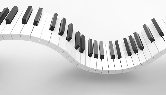 Piano keyboard Musical Art Concept and isolated on white background - 3d rendering